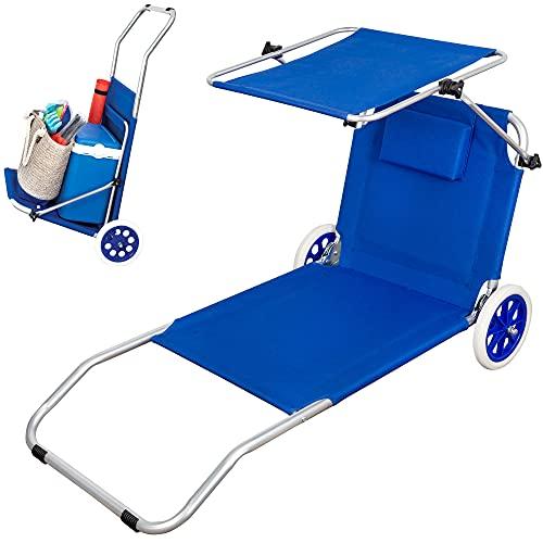 Aktive 62610 - Tumbona playa con ruedas, Silla playa ruedas, 2 ruedas, con parasol, Sillas de playa con ruedas, 67 x 117 x 89 cm, altura asiento 11 cm, peso máx 110 kg, color azul, Aktive Beach