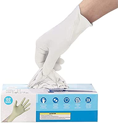 100 Pcs Disposable Gloves, Soft Industrial Gloves,Latex Free,White Cleaning Glove Ship from USA,Arrive in 7-10 Days (Color:White; Size:M) from Hizek