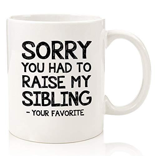 Taza de café divertida con texto en inglés «Raise My Sibling/Favorite Children», «Best Mom and Dad», regalo del día del padre, para hija, hijo, niños, regalo de día para...