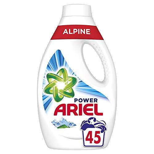 Ariel Power Lessive Liquide Parfum Fraîcheur Alpine Élimine Les Taches Tenaces, Les 45 Lavages, 2,47L