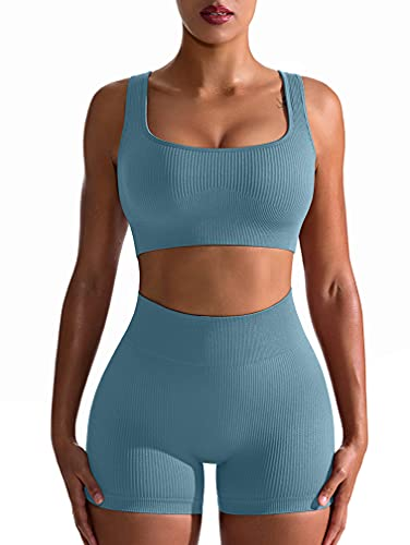 OQQ Workout Outfits for Women 2 Piece Seamless Ribbed High Waist Leggings with Sports Bra Exercise Set Blue