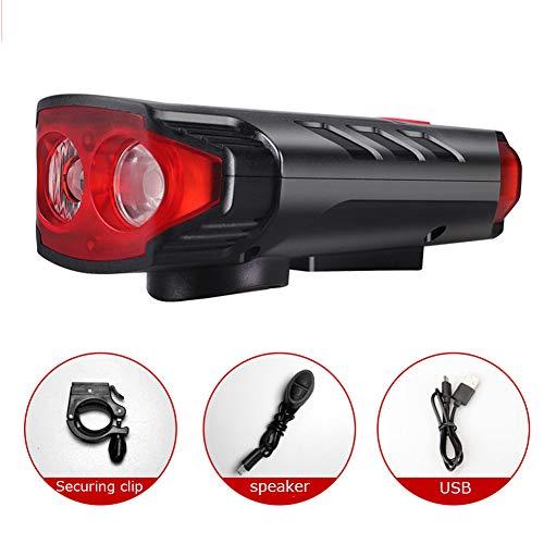 USB Rechargeable Rainproof Bicycle Headlight Solar Charging Night Riding Light Glare Flashlight Night Riding Equipment with Horn Mountain Bike Light-red