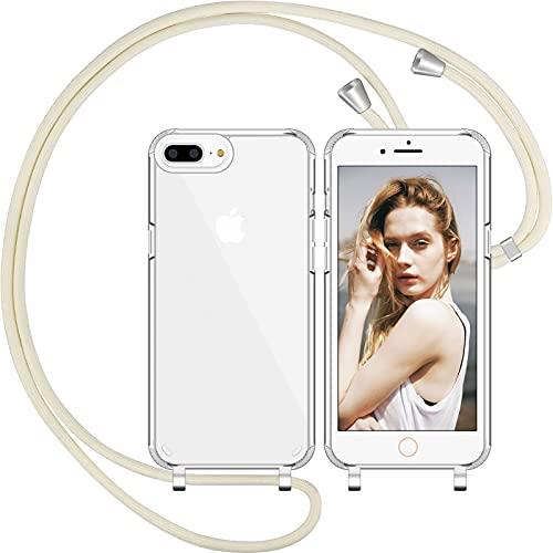 Nupcknn Custodia in silicone liquido per iPhone 7 Plus/iPhone 8 Plus/iPhone 6s Plus, con cordino (rimovibile), con cordino per appenderlo, colore: beige