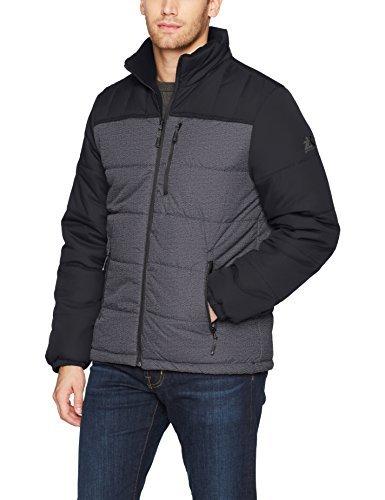 ZeroXposur Men's Flex Quilted Puffer Jacket, Black Denim, Medium