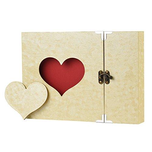 Firbon Album Foto, Scrapbook, Sticker Diario Creativo con Incisione a Forma di Cuore.Wedding Anniversary, Birthday, Mother's Day, Valentine's Day Idea Regalo(Giallo)