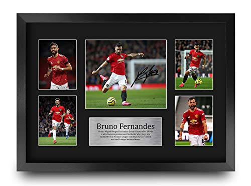 HWC Trading A3 FR Bruno Fernandes Manchester Utd Man U Gifts Printed Signed Autograph Picture for Fans and Supporters