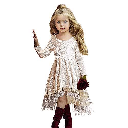 Baby Mädchen Prinzessin Kleider, Kleinkind Kinder Quaste Langarm Spitze Blume Einfarbig Party Pageant Outfit Kleidung Strand Tragen(Gold ,110)