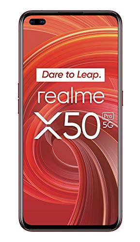 "realme X50 Pro – Smartphone 5G de 6.44"", 8 GB RAM + 128 GB ROM, procesador OctaCore Qualcomm Snapdragon 865, cuádruple cámara AI 64MP, MicroSD, Rust Red"