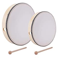★ Dimensions: 10 x 10 x 1.8 inch for 10 inch hand drum, 8 x 8 x 1.8 inch for 8 inch hand drum ★ Solid poplar wood frame and synthetic head. Each equipped with a wood beater ★ Lightweight but durable design make it an ideal percussion instrument choic...
