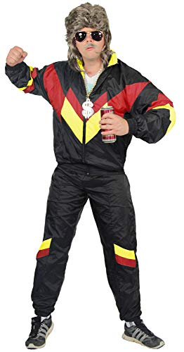 Foxxeo Disfraz de los años 80 para adultos Premium 80s, chándal asistido para hombre, tallas S-XXXXL, color negro, rojo y amarillo, talla M