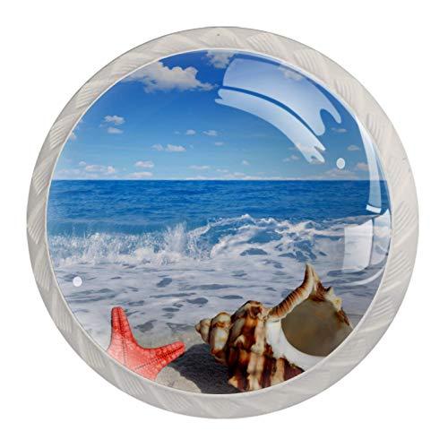 Perillas de armario de cocina, perillas decorativas redondas, armario, cajones, tocador, tirador, 4 Uds., Playa, verano, estrella de mar, concha
