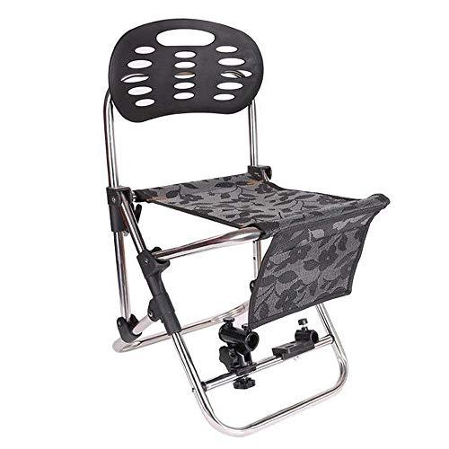ZLININ Y-longhair - Silla plegable de pesca con soporte para caña de pescar de acero inoxidable, taburete portátil ajustable para ocio al aire libre (tamaño: 34 x 38 x 66 cm)