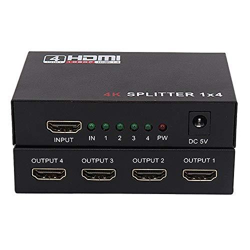 Switch Hdmi,1x4 hdmi Splitter,Admite Resolución 4K * 2K @ 30Hz, Admite 3D, Plug and Play, Compatible con PS4, Reproductor de DVD, Proyector HDTV y Otros Dispositivos Que Admiten Interfaz HDMI