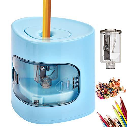 Electric Pencil Sharpener USB/Battery Dual Power Mode Heavyduty Helical Blade to Fast Sharpen Auto Stop for No2/Colored Pencils68mm Suitable for Kids Teachers Classroom Office Blue