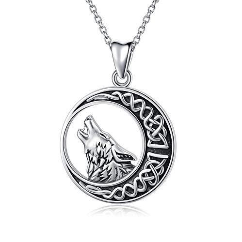 Wolf Gifts 925 Sterling Silver Celtic Moon Wolf Pendant Necklace for Women Men, Wolf Jewelry Birthday Jewellery for Girls