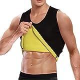 Cimkiz Mens Sauna Vest Sweat Body Shaper Slimming Waist Trainer Neoprene Tank Top Shapewear Shirt Workout Suit no Zip Black XL