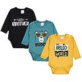 TupTam Baby Jungen Langarm Body mit Aufdruck Spruch 3er Pack, Farbe: Farbenmix 3, Größe: 98