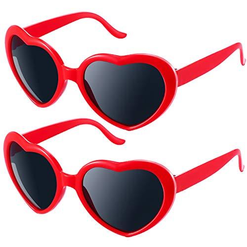 2 Paar Übergroß Herz Form Sonnenbrille Liebe Süß Brillen Sonnenbrillen, Rot