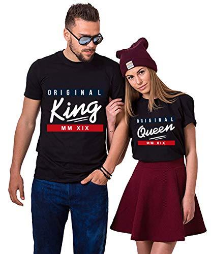 King Queen Shirts Couple Shirt Pärchen T-Shirts Paar Tshirt König Königin Kurzarm 1 Stücke (S,Queen-Schwarz)