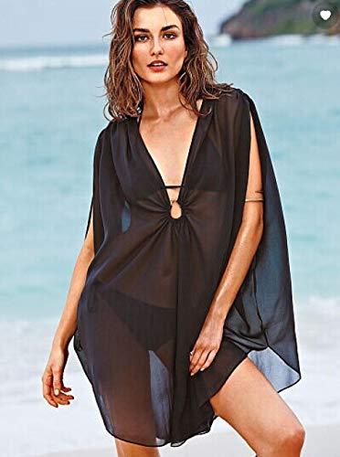 SexyCP Abbigliamento Erotico Babydoll Camicie da Notte e Négligé Top Bikini gonne da Spiaggia Camicette Abiti da Sole Nero M