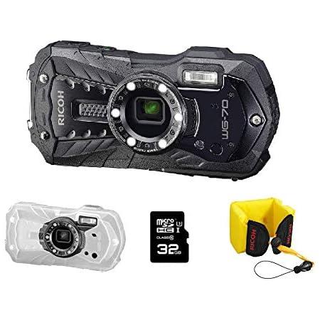Ricoh Wg 70 Schwarze Wasserdichte Digitalkamera Schwimmriemen Schutzjacke Sd 32 Go 0386700 Sport Freizeit
