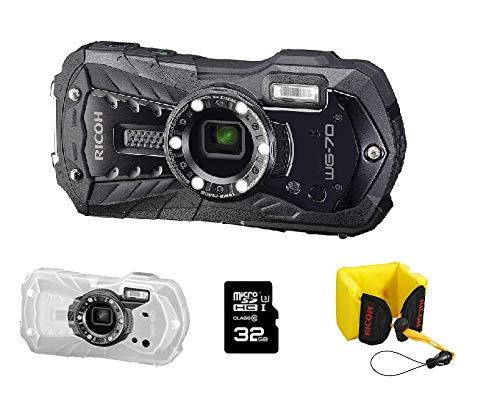 Ricoh WG-70 - Schwarze wasserdichte Digitalkamera + Schwimmriemen + Schutzjacke + SD 32 Go - 0386700