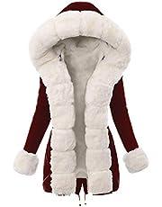 MRULIC damvinterkappa, ullrock med fuskpälskrage, parkas, elegant trenchcoat, lång kappa, övergångsjacka, duffel, ytterkläder bälte, jacka, vinterparka, pälshuva