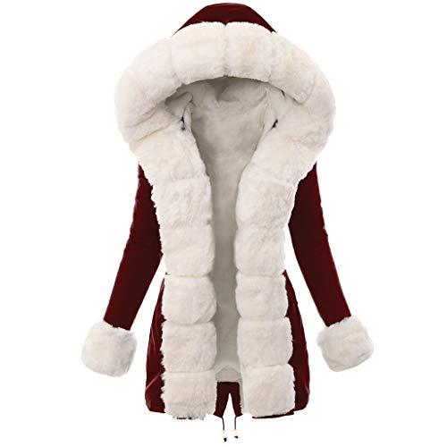 Smonke Damen Herbst Winter Warme Plüsch Tops Nachahmung Faux Pelzmantel Spleißen Lange Jacke Langarm Mit Kapuze Mantel Mode Lässig Bluse Frauen Outwear