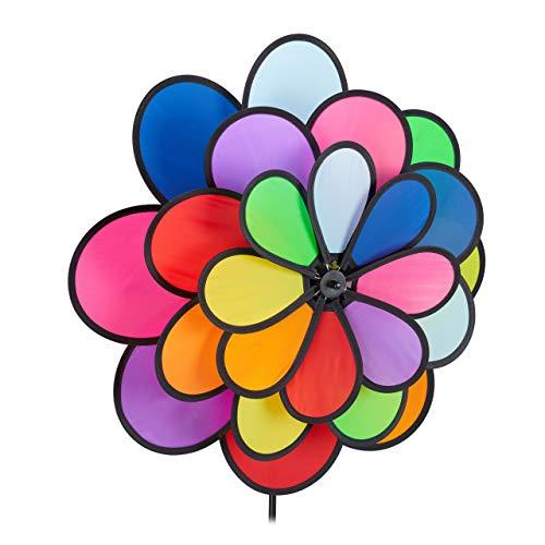Relaxdays Windrad Blume XXL, dekorativer Blumenstecker, Regenbogen Look, für Balkon & Terrasse, 118 x 47,5 x 16 cm, bunt