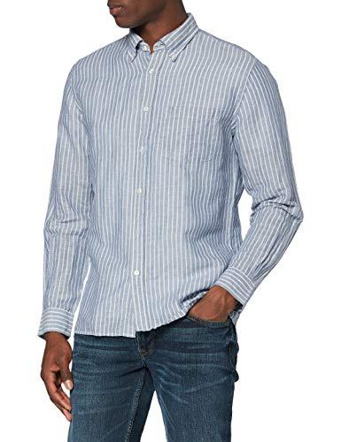 Brooks Brothers Herren Sporthemd Camicia Taschino Manica Lunga, Blau (Navy 411), M