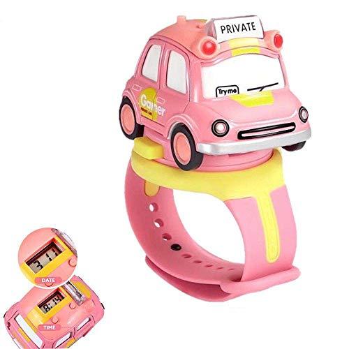Kinderuhren für Jungen, Autos Spielzeug mit Sound & Licht| Kleinkind Spielzeug für 3 Jahre alt, Jungen&Mädchen (pink)