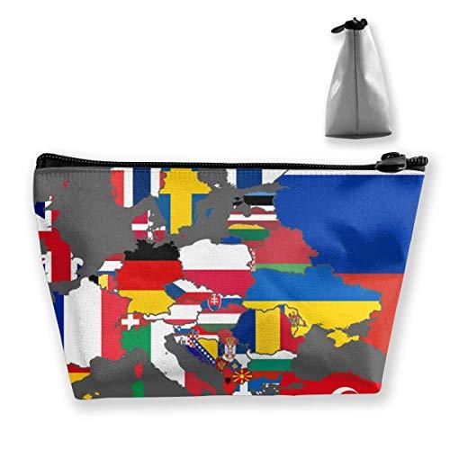 Bandera Mapa de Europa y África del Norte Bolsa de cosméticos de Viaje portátil Bolsa de Maquillaje Bolsa de Maquillaje con Cremallera