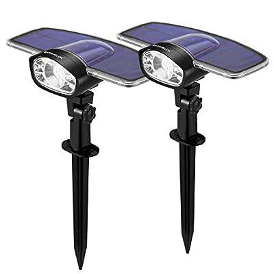GUMGLEX Solar Landscape Lights Outdoor - 10 LED Wall Spot Lights 2-in-1 IP67 Waterproof - Intelligent ON/Off Sensors - Transparent Top Cover - 6500K - Cold White - 2 Pack