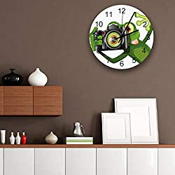 12 Inch Wooden Wall Clocks, Funny Frog Taking a Picture His Camera Completely Silent Round Wall Clock, Easy to Read Decorative Wall Clock for The Patio, Kitchen and Living Room
