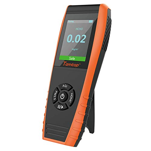 Temtop LKC-1000S Air Quality Monitor Formaldehyde Detector, Air Pollution Sensor, Humidity and Temperature Meter Tester with PM2.5/PM10/HCHO/AQI/Particles/Sensor Indoor Testing