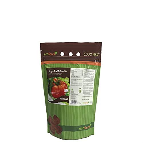 CULTIVERS Force-K Eco de 1 Kg. Fertilizante de Potasio Ecológico Quelatado. Abono específico con pH Neutro para el Engorde y Maduración de los Frutos, Verde