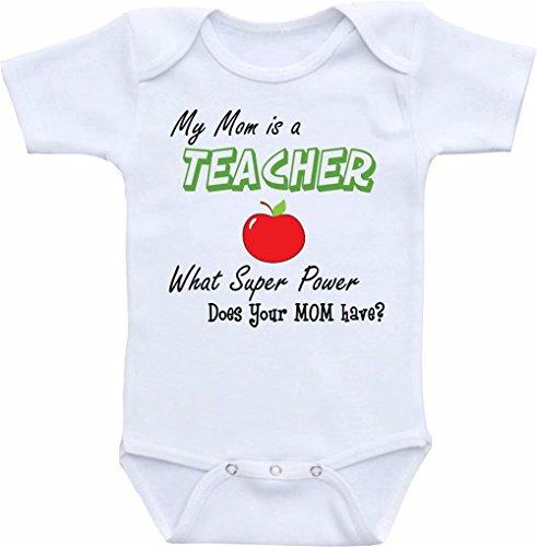 Promini Funny My MOM is a Teacher, What Super Power Does Your Mom Have Baby Body Lindo Body de una sola pieza, mameluco para bebé, el mejor regalo para bebé