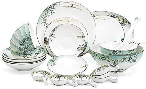 Juego de Platos, Conjunto de vajillas de cerámica con 32 Piezas, Placa/Placa/Cuchara | Conjunto de Cena de Hueso de China, Conjunto de combinación de Porcelana del patrón de festejo del Lago West