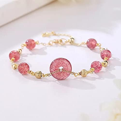 QiuYueShangMao Lucky Round Pink Natural Strawberry Quartz Gold Color Filled Beaded Strand Pulseras para Mujeres Joyería Fina Regalo para Amigos Joyería de la Amistad