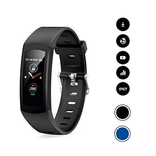 novasmart - Reloj deportivo runR ONE con correa inteligente y pantalla en color, con registro de frecuencia cardíaca y presión arterial, contador de calorías y pasos, y control del sueño, negro