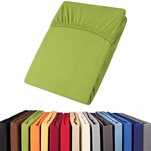 aqua-textil Viana Spannbettlaken 90x200-100x200 cm grün Baumwolle Spannbetttuch Jersey Laken