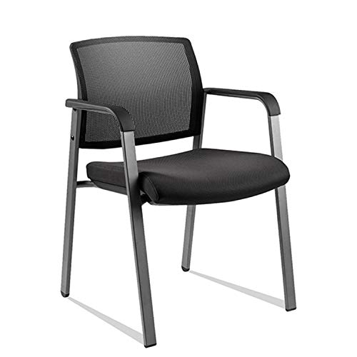 CLATINA Mesh Back Stacking Arm Chairs with Upholstered Fabric Seat and Ergonomic Lumber Support for Office School Church Guest Reception Black