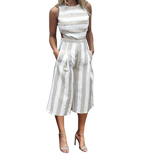 VEMOW Sommer Playsuit Elegante Damen Frauen Sleeveless Blau Streifen Jumpsuit Lässig Täglichen Party Beach Clubwear Breite Beinhosen Outfit Overalls (Türkis, 38 DE/M CN)