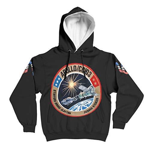 YxueSond Herren Fashion Hoodie Sweatshirt ASTP (Apollo–Soyuz Test Project) Slim Fit Kapuzenpullover Sweatjacke Für Jugenden White 5XL