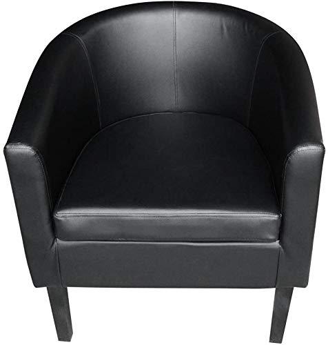 JXQ Cars Kunstleder Badewanne Stuhl Sessel Clubsessel Esszimmer Wohnzimmer Café gepolsterter Sitz,Black