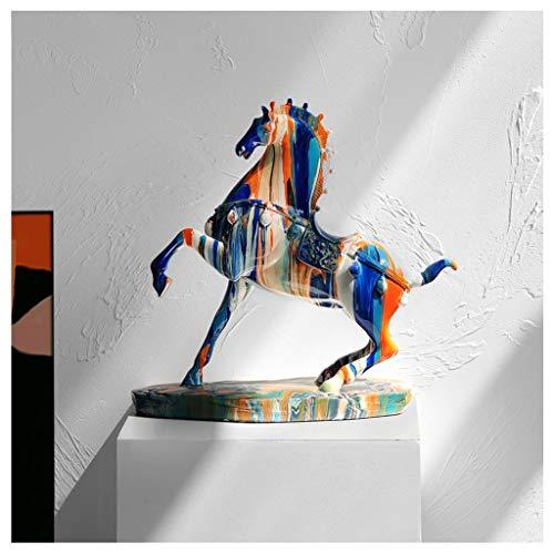 Ornamento de Escritorio Crafts lujo luz, de alta gama caballo Adornos, nórdica de la sala, oficina, estudio, gabinete del vino, joyas, regalos estreno de una casa artesanías decoración ( Color