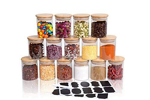 SODSAI 15 Piece Glass Storage Jars Set with Airtight Bamboo Lids and Labels,6oz Glass Spice Jar Mini Food Storage Containers for Home Kitchen,Pantry,Tea,Sugar,Salt,Coffee,Flour,Herbs,Grains