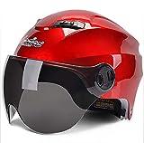 XTGFDC Motorradhelm Mit Sicherheitsrücklichtern, Sommer Atmungsaktiv Damen Und Herren Jet-Helm Scooter-Helm ECE Genehmigt, Rot, Gelb, Weiß, Mattschwarz (56-62Cm),red