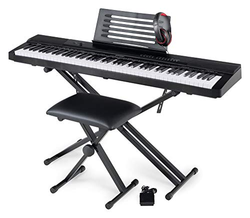 McGrey SK-88 Keyboard Super Kit - Einsteiger-Keyboard in Stagepiano-Optik mit 88 Tasten - 146 Klänge - inklusive Sustain-Pedal, Keyboardständer, Hocker und Kopfhörer - schwarz