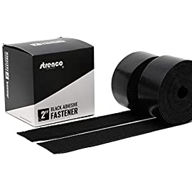 Strenco 2 Inch Adhesive Black Hook and Loop Tape - 5 Yards - Heavy Duty Strips - Sticky Back Fastener 1 2 inch wide Black Hook and loop Tape Self Adhesive (sticky back) straps/ strips by Strenco its great for Fastening. Hook and loop (complete double sided set) 5 yards (15 feet) long of each side. Sticks on glass, wood, plastics and other clean, flat surfaces.